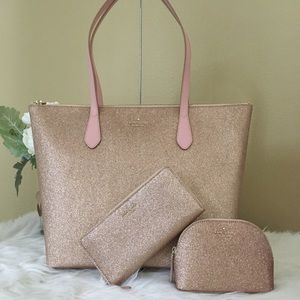 3PCS Kate Spade glitter tote wallet & cosmetic